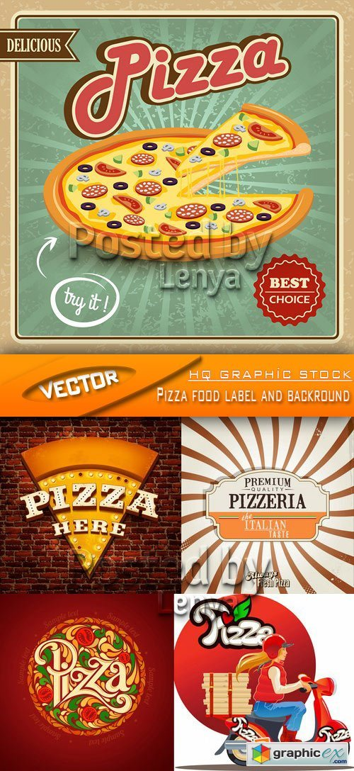Stock Vector - Pizza food label and backround