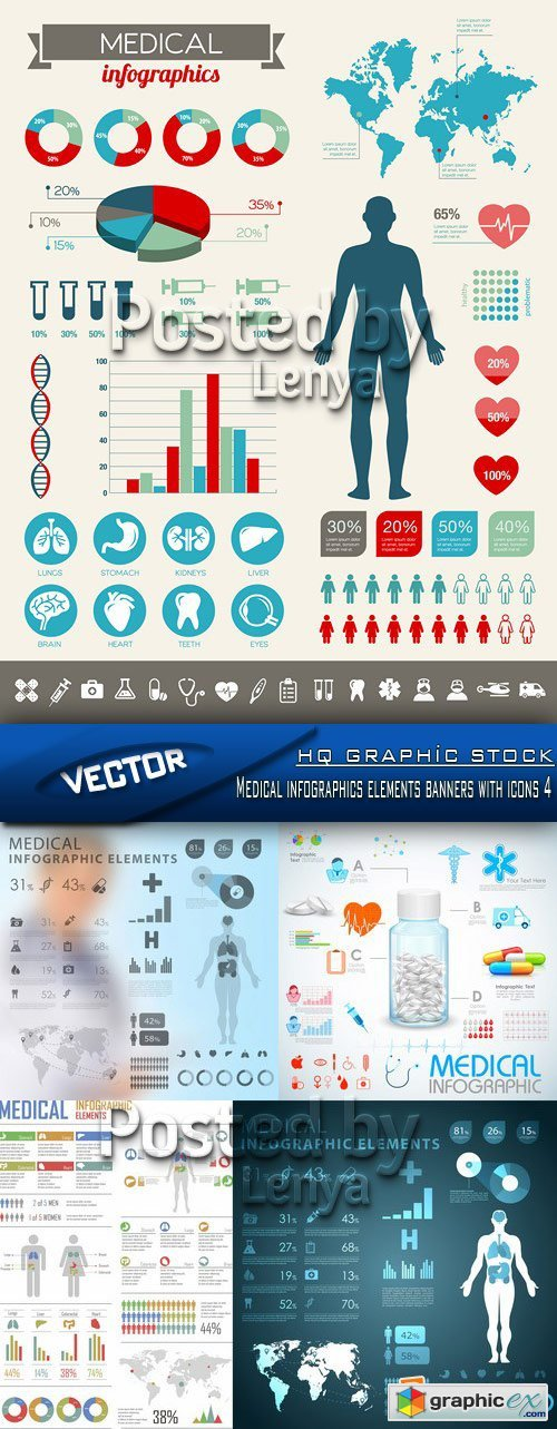 Stock Vector - Medical infographics elements banners with icons 4