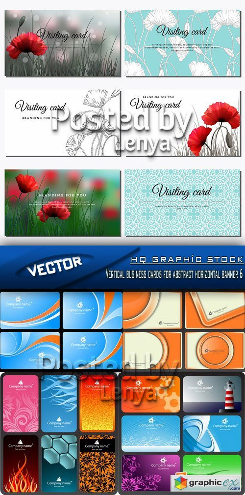 Stock Vector - Vertical business cards for abstract horizontal banner 6