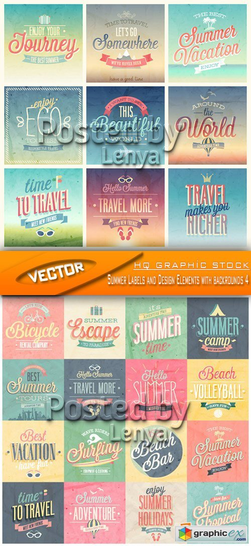 Stock Vector - Summer Labels and Design Elements with backrounds 4