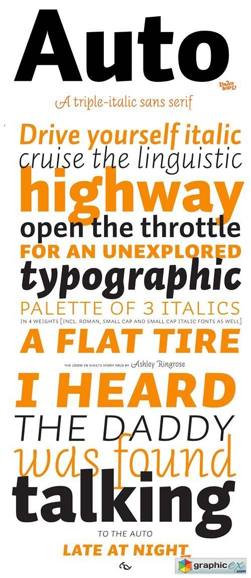 Auto Font Family - 72 Fonts $1350