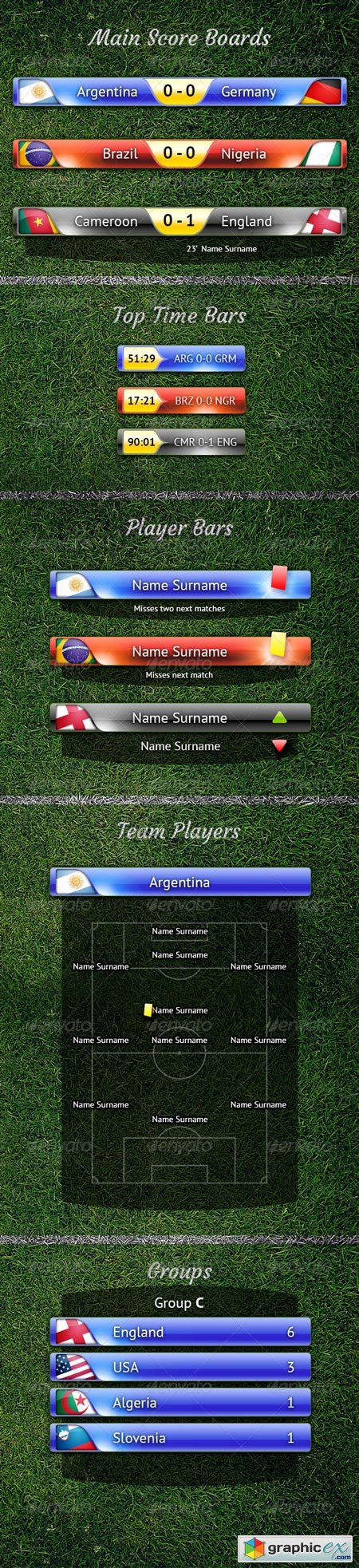 Score Bar PSD and other Football TV Elements 7969198