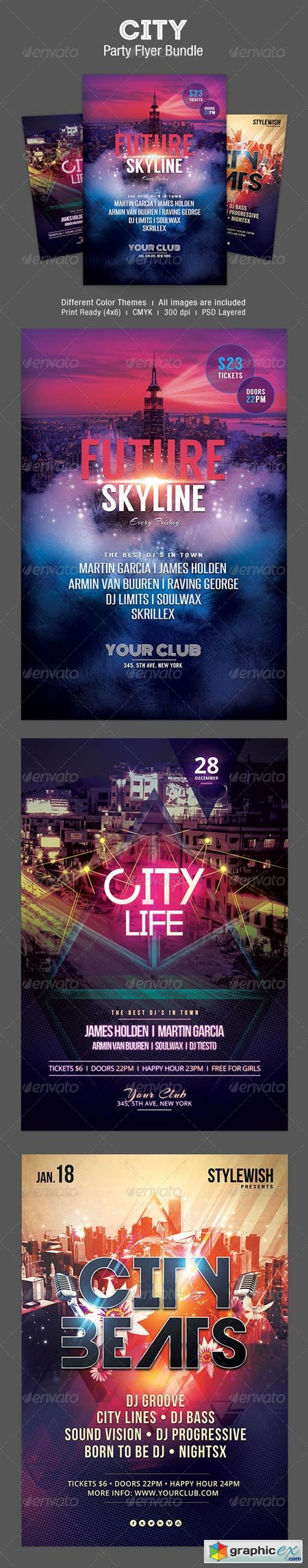 City Party Flyer Bundle 6214142