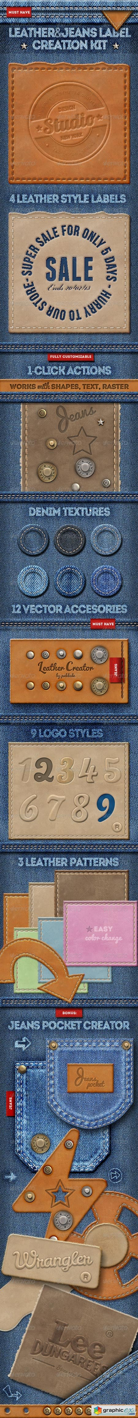 Leather Jeans Label Photoshop Creator 8624339