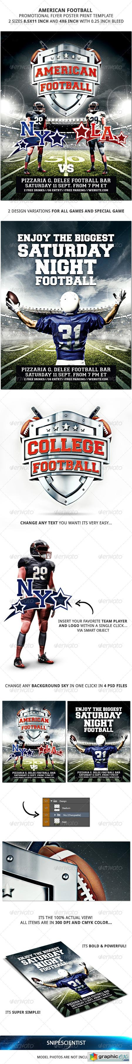 American Football Promotional Flyer Poster 2 Sizes 8603931