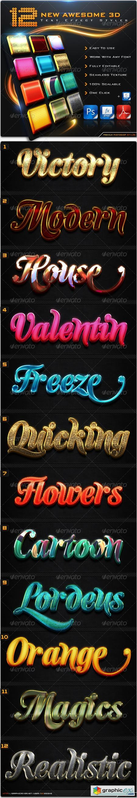 12 New Awesome 3D Text Effect Styles + Actions 8604061