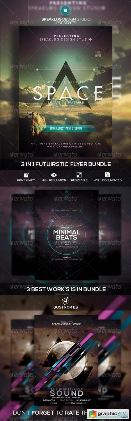 Futuristic Flyer Bundle Vol-01 8570634