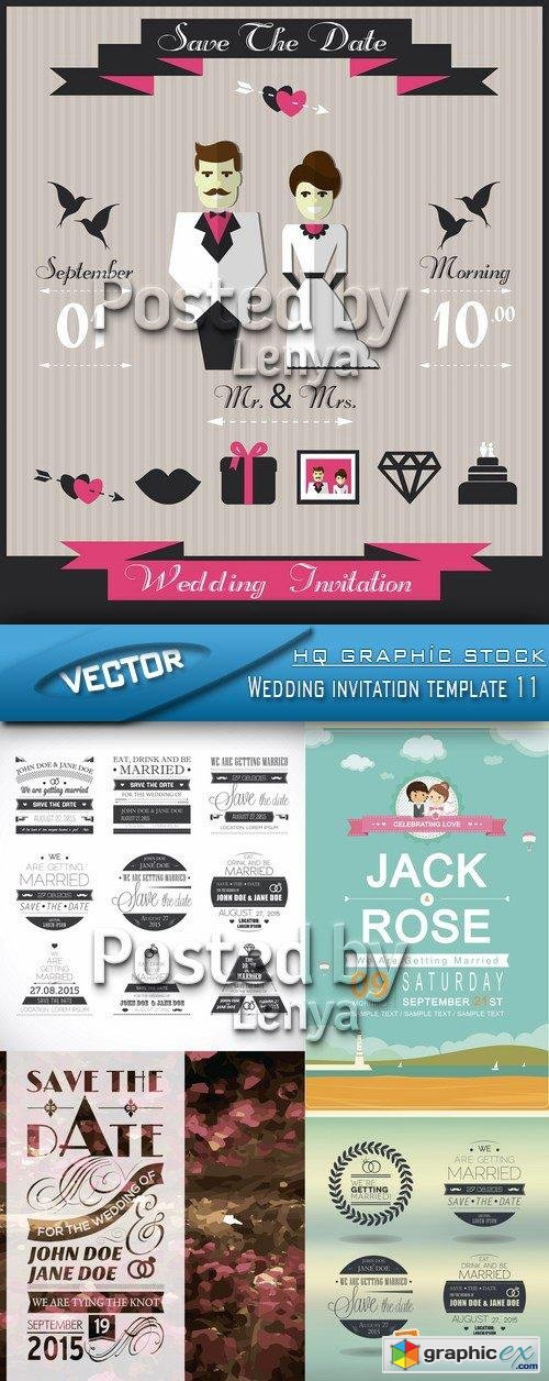 Stock Vector - Wedding invitation template 11