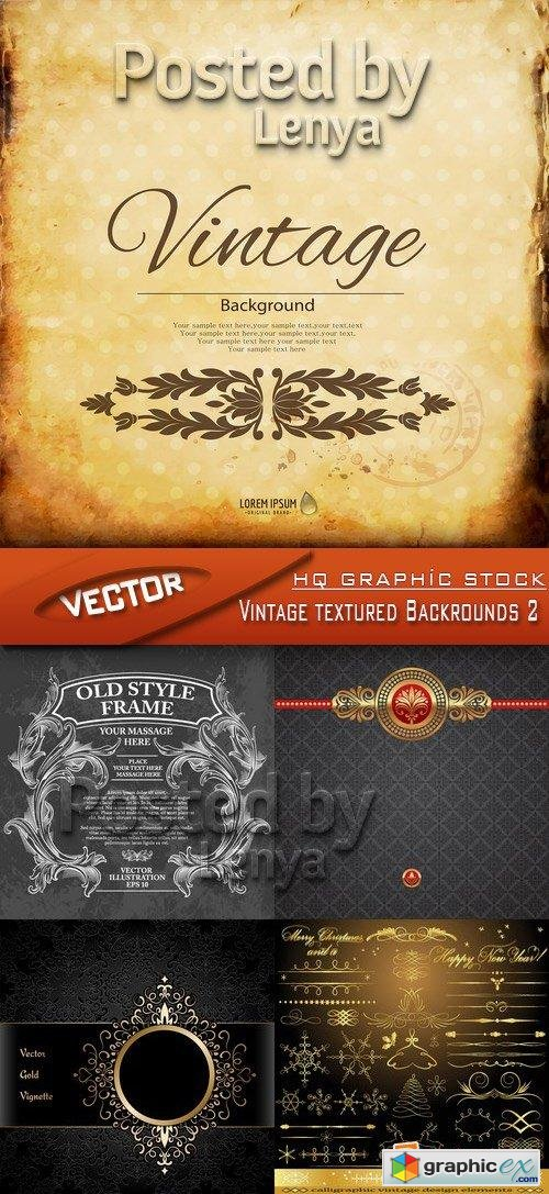 Stock Vector - Vintage textured Backrounds 2