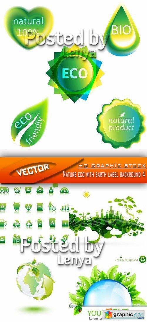 Stock Vector - Nature eco with earth label backround 4