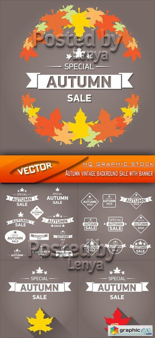 Stock Vector - Autumn vintage backround sale with banner
