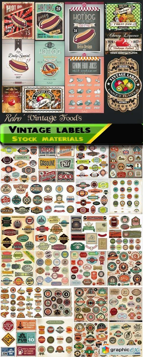 Different vintage labels in vector 25xEPS
