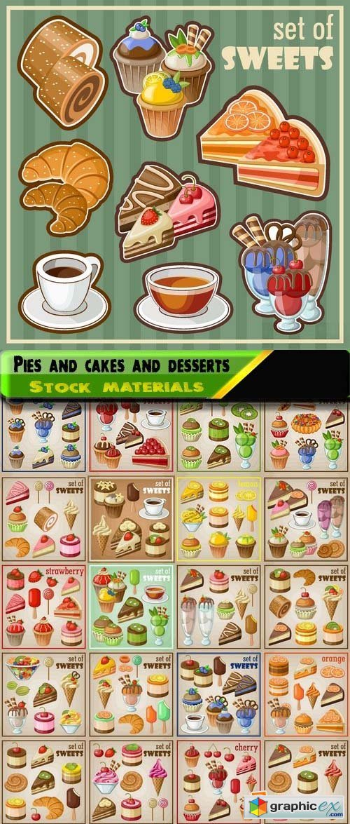 Sweet tasty pies and cakes and desserts in vector 25xEPS