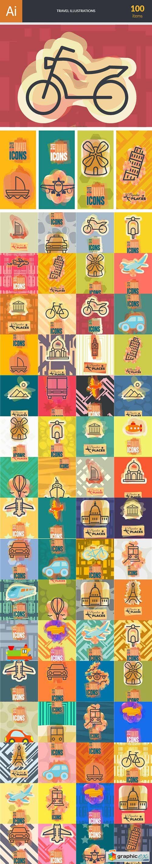 Travel Illustrations Pack 100xEPS