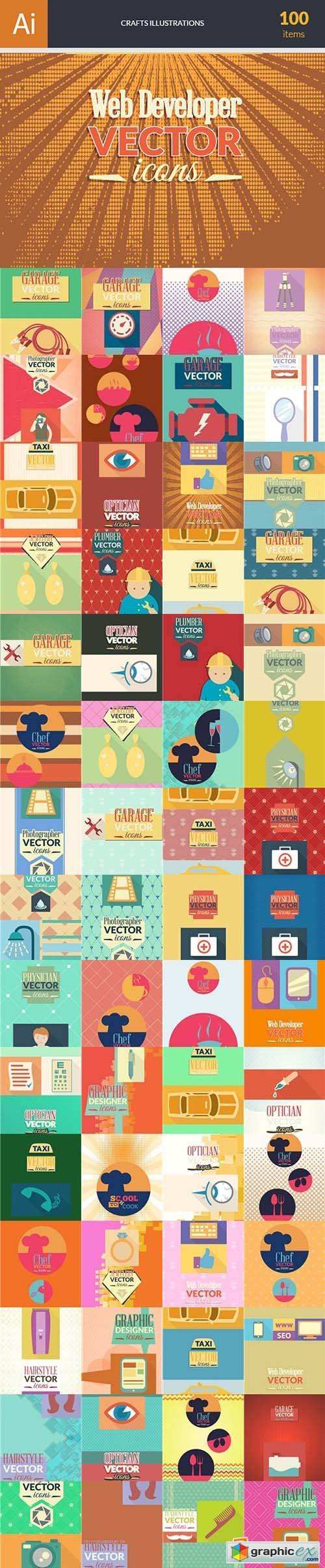 Crafts Illustrations Pack 100xEPS