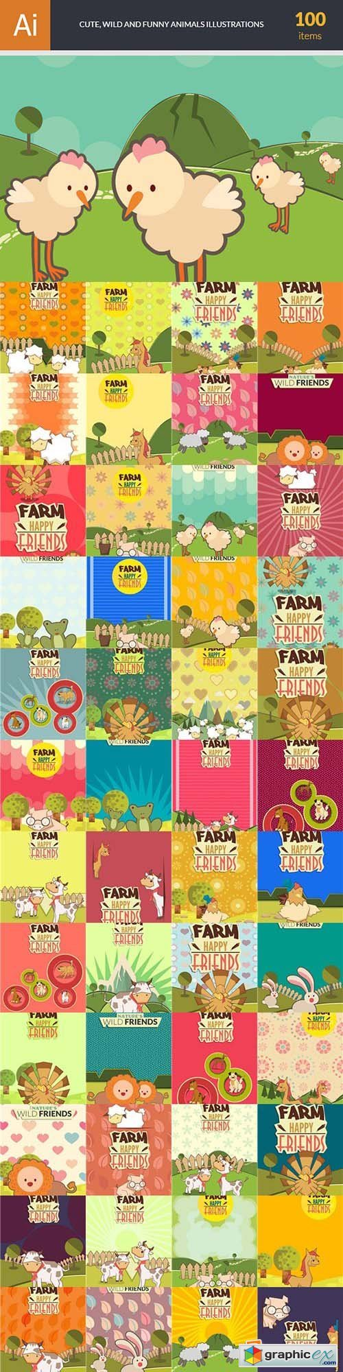 Cute Wild and Funny Animals Illustrations Pack 100xEPS