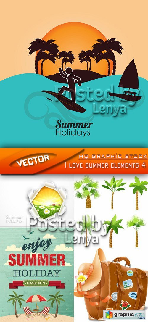 Stock Vector - I love summer elements 4