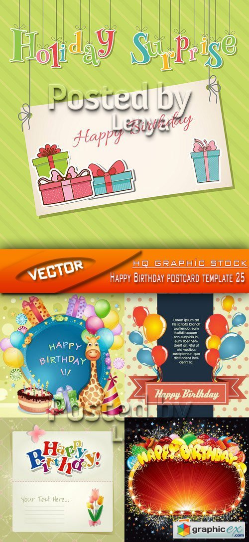 Stock Vector - Happy Birthday postcard template 25