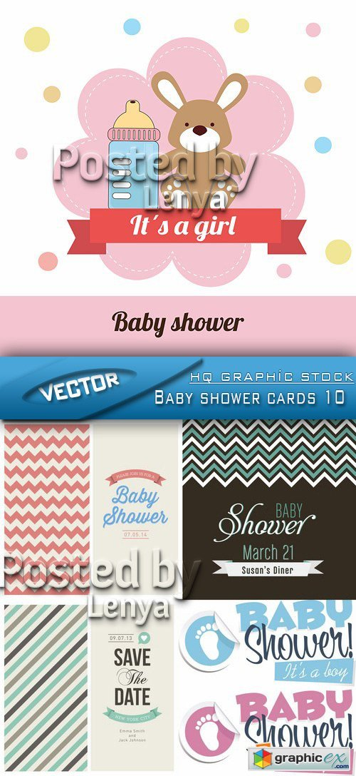 Stock Vector - Baby shower cards 10