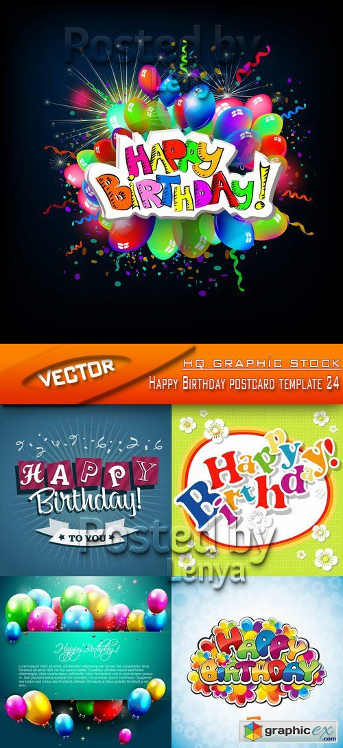 Stock Vector - Happy Birthday postcard template 24