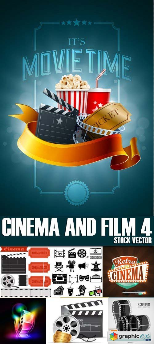 Stock Vectors - Cinema and Film 4, 25xEPS
