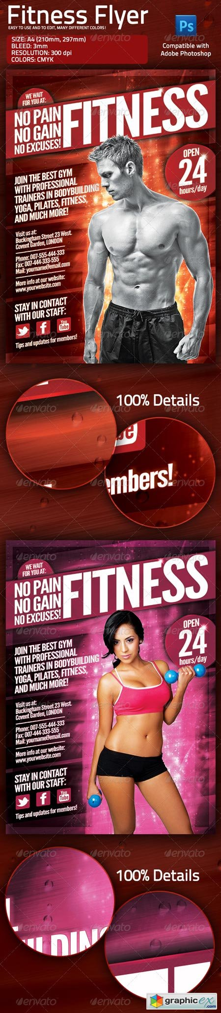 Fitness Gym Flyer with Multiple Color Options 1715942