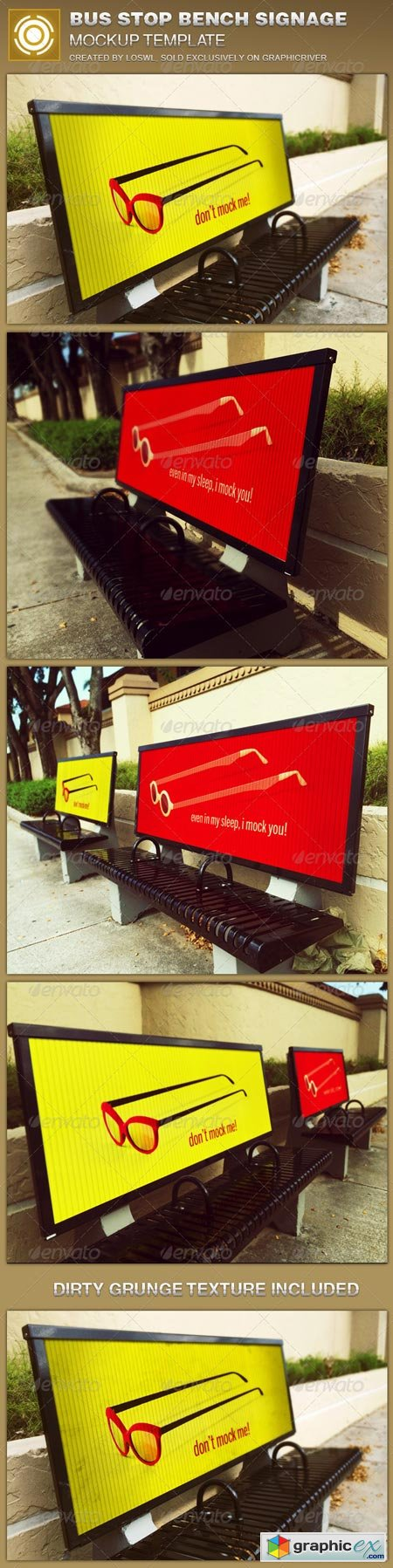 Corrugated Bus Stop Bench Signage Mockup Template 8688819