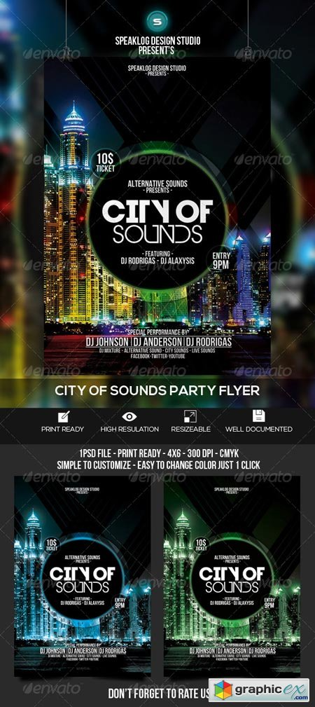 City of Sound Futuristic Flyer V-02 8745961