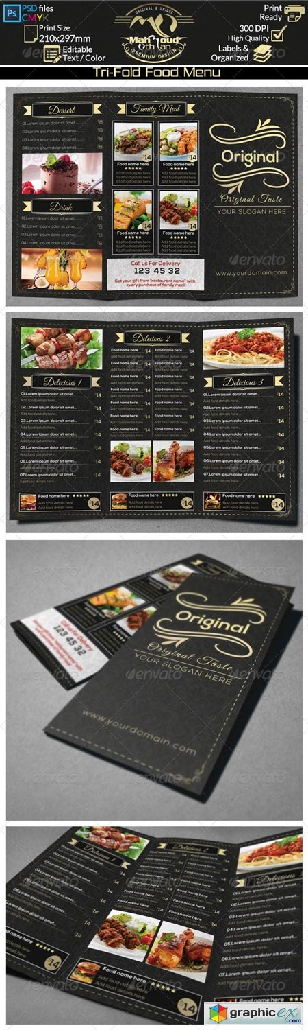 Restaurant Food Menu Trifold 8432372