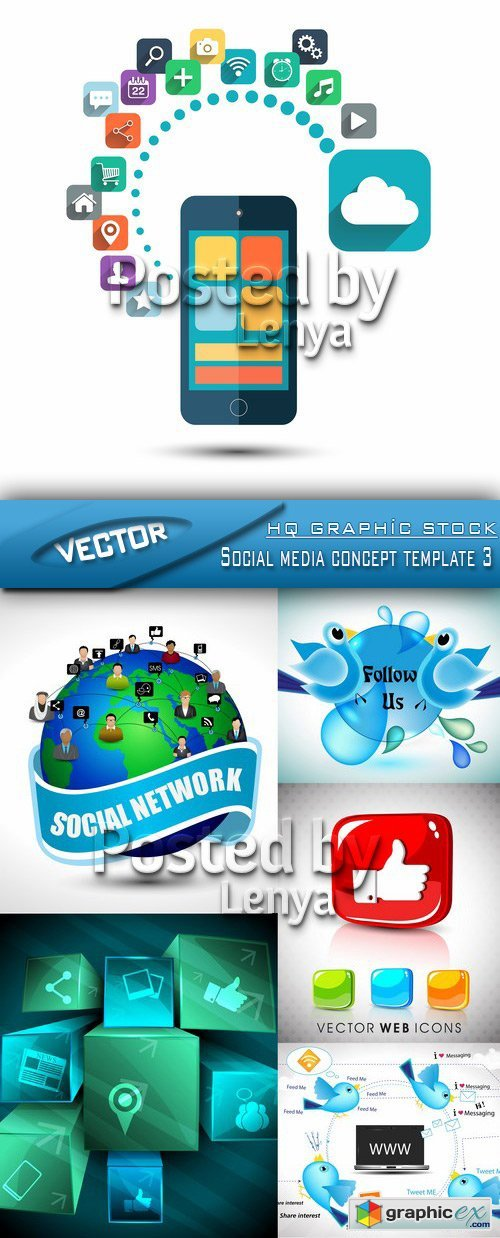 Stock Vector - Social media concept template 03