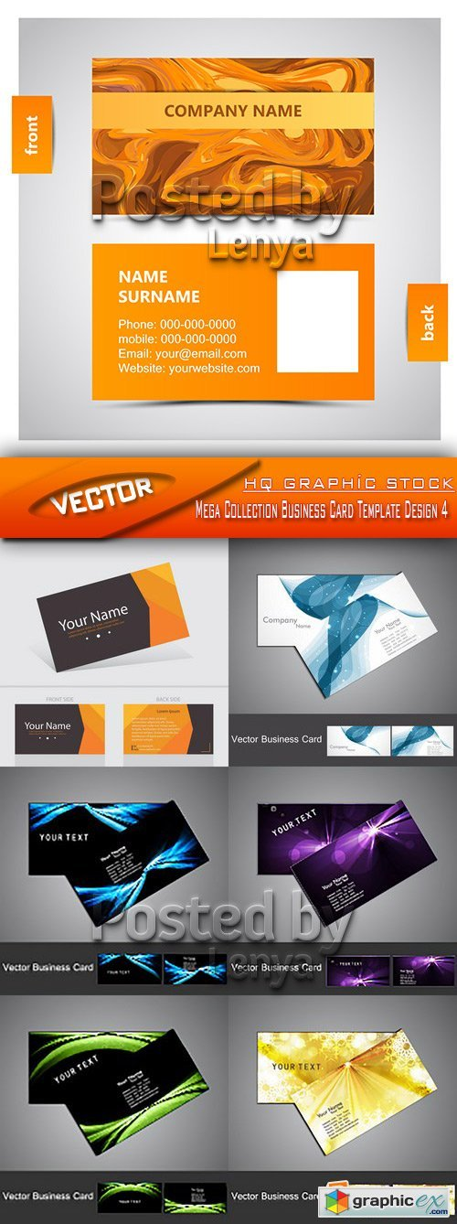 Stock Vector - Mega Collection Business Card Template Design 4