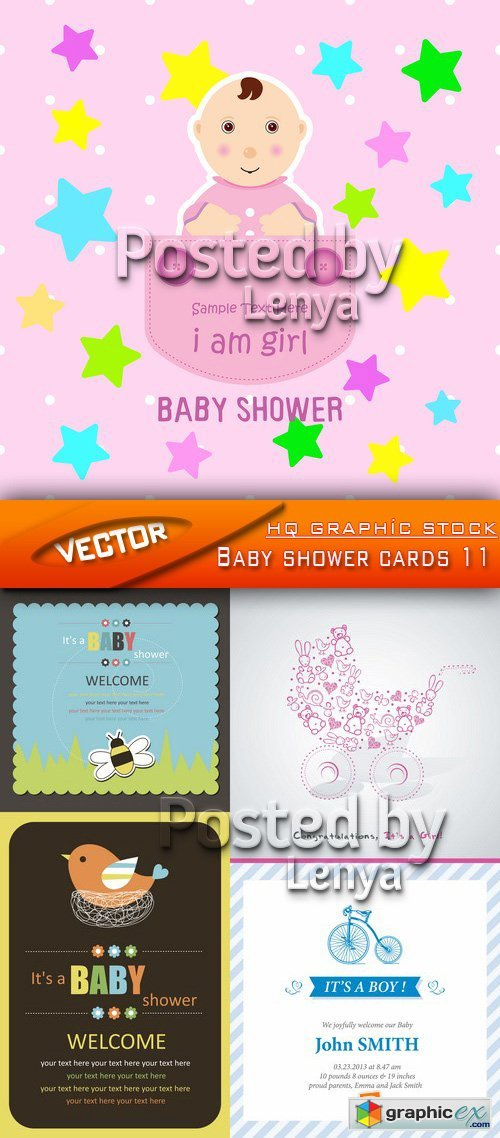 Stock Vector - Baby shower cards 11