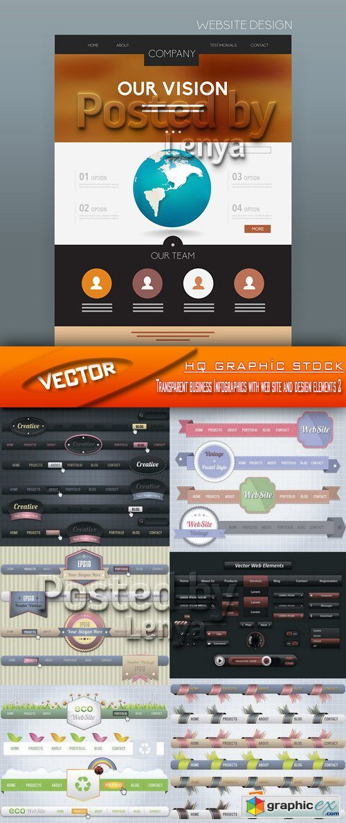 Stock Vector - Transparent business Infographics with web site and design elements 2