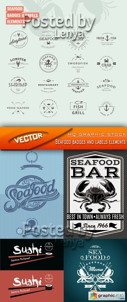Stock Vector - Seafood badges and labels elements
