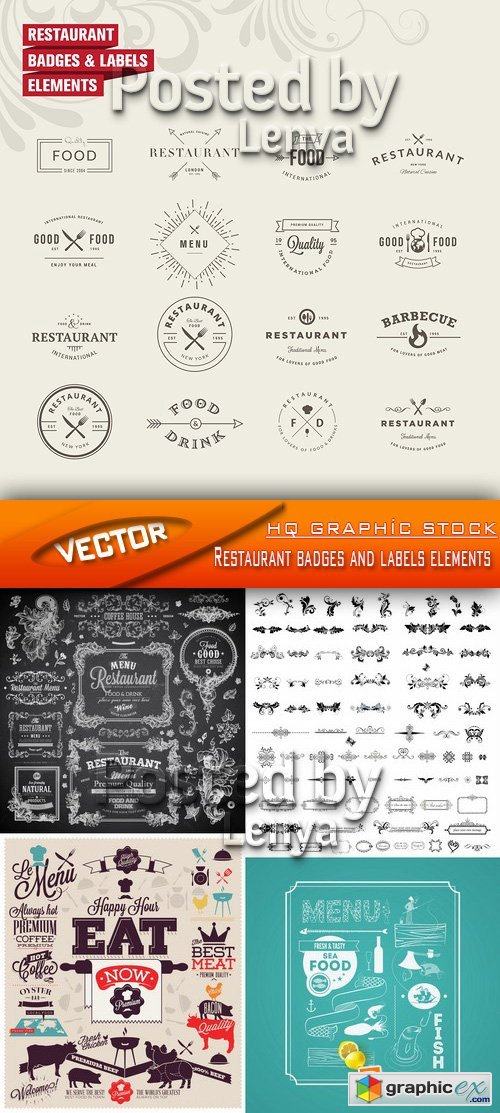 Stock Vector - Restaurant badges and labels elements