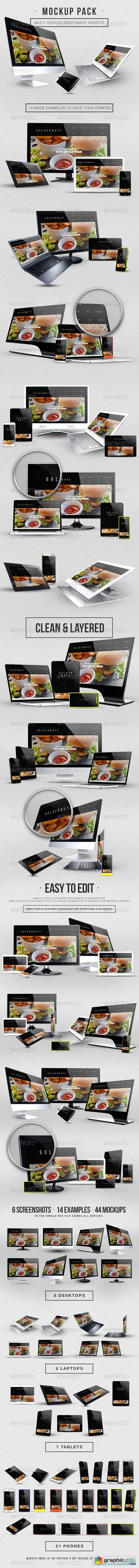 Multi Devices Responsive Website Mockup Pack 8516036
