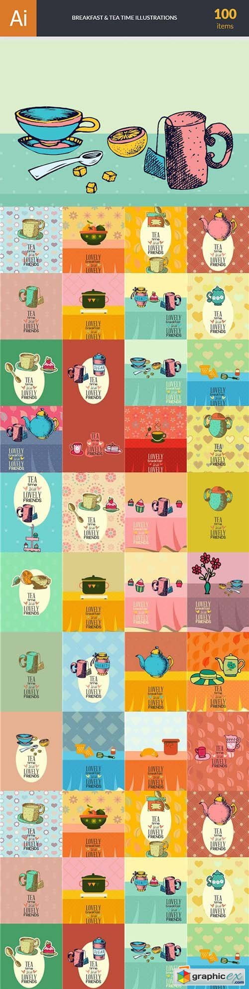 Breakfast & Tea Time Illustrations Pack 102xEPS