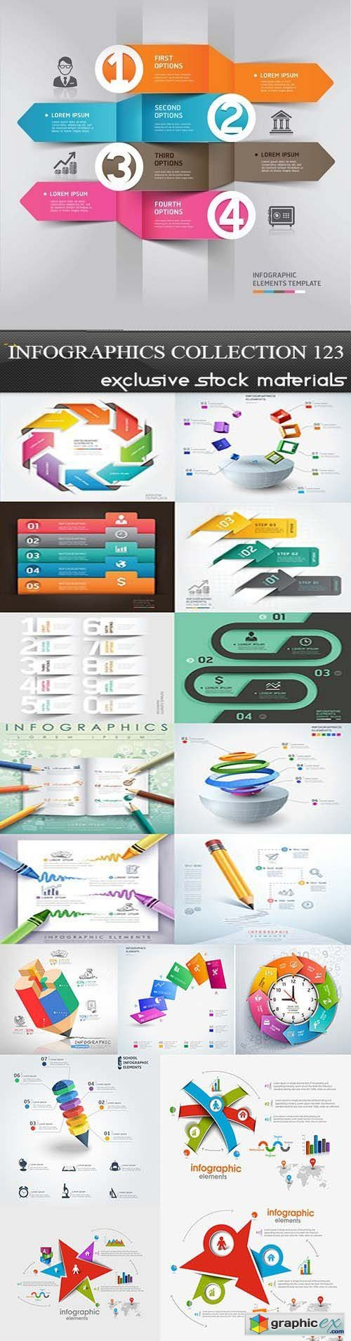 Collection of infographics vol.123, 25xEPS