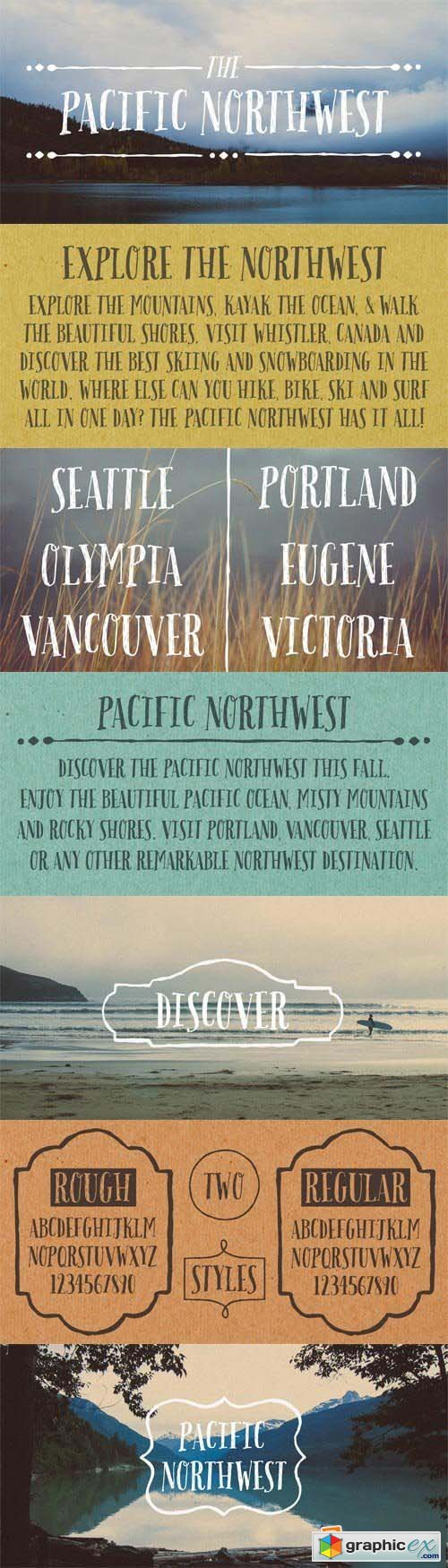 Pacific Northwest Font Family - 3 Fonts for $60