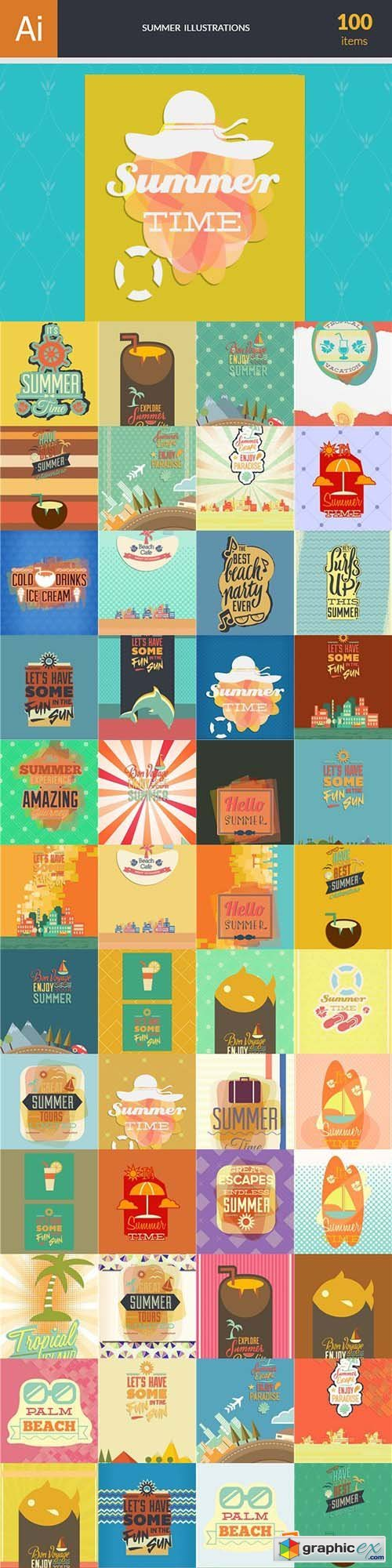 Summer Illustrations Pack 102xEPS