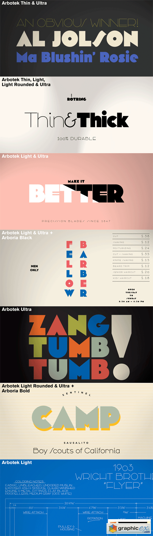 Arbotek Font Family - 4 Fonts for $208