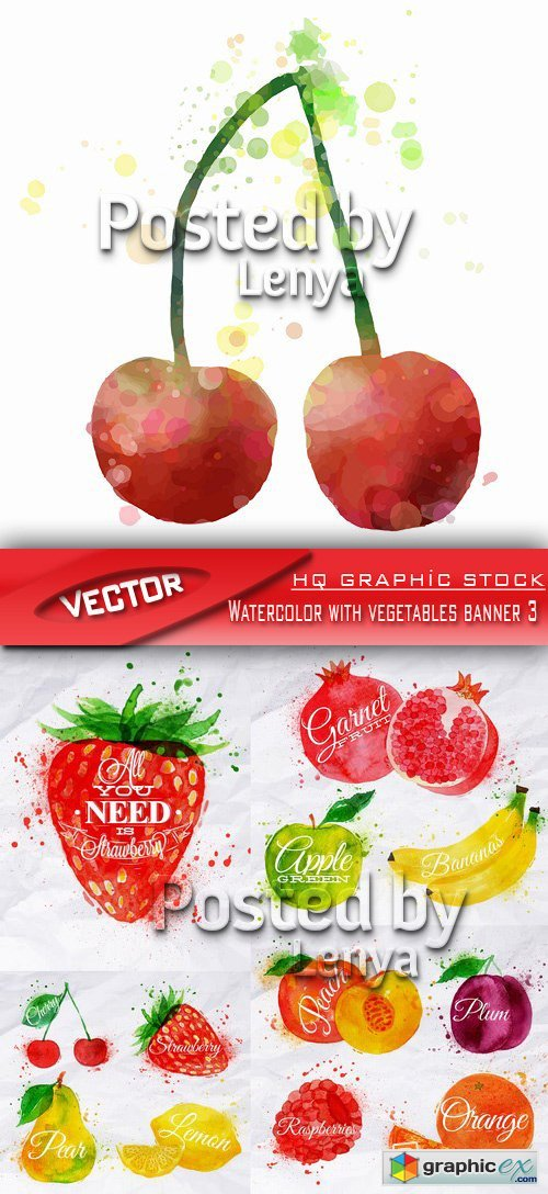 Stock Vector - Watercolor with vegetables banner 3