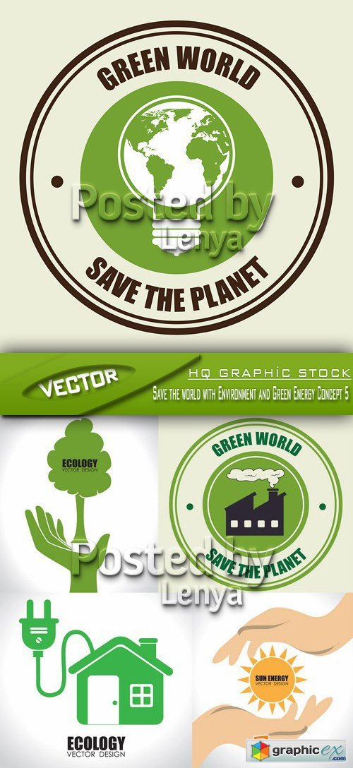 Stock Vector - Save the world with Environment and Green Energy Concept 5