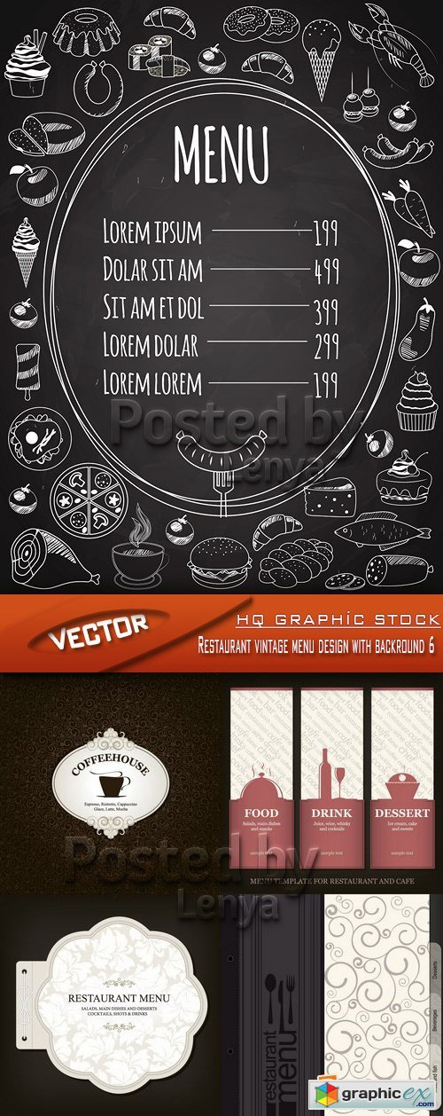 Stock Vector - Restaurant vintage menu design with backround 6