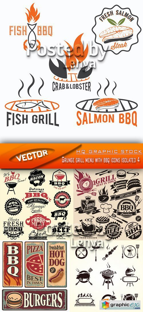 Grunge grill menu with bbq icons isolated 4