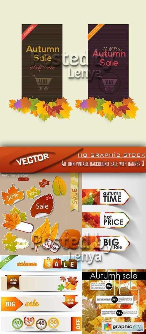 Stock Vector - Autumn vintage backround sale with banner 3