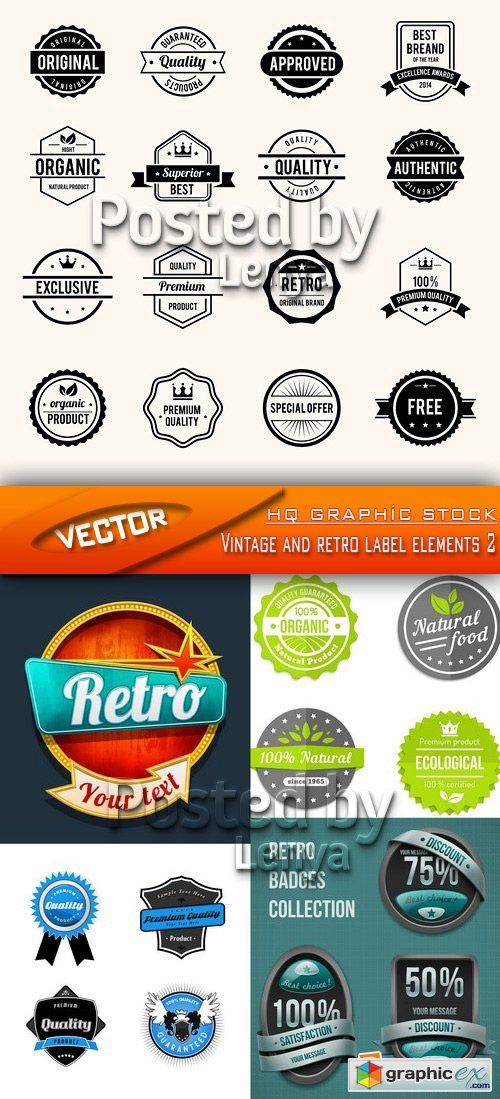 Stock Vector - Vintage and retro label elements 2