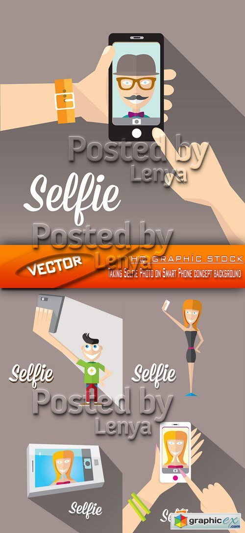 Stock Vector - Taking Selfie Photo on Smart Phone concept background