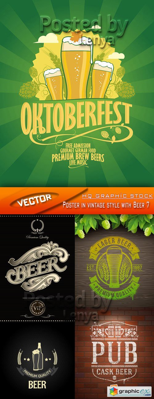 Stock Vector - Poster in vintage style with Beer 7