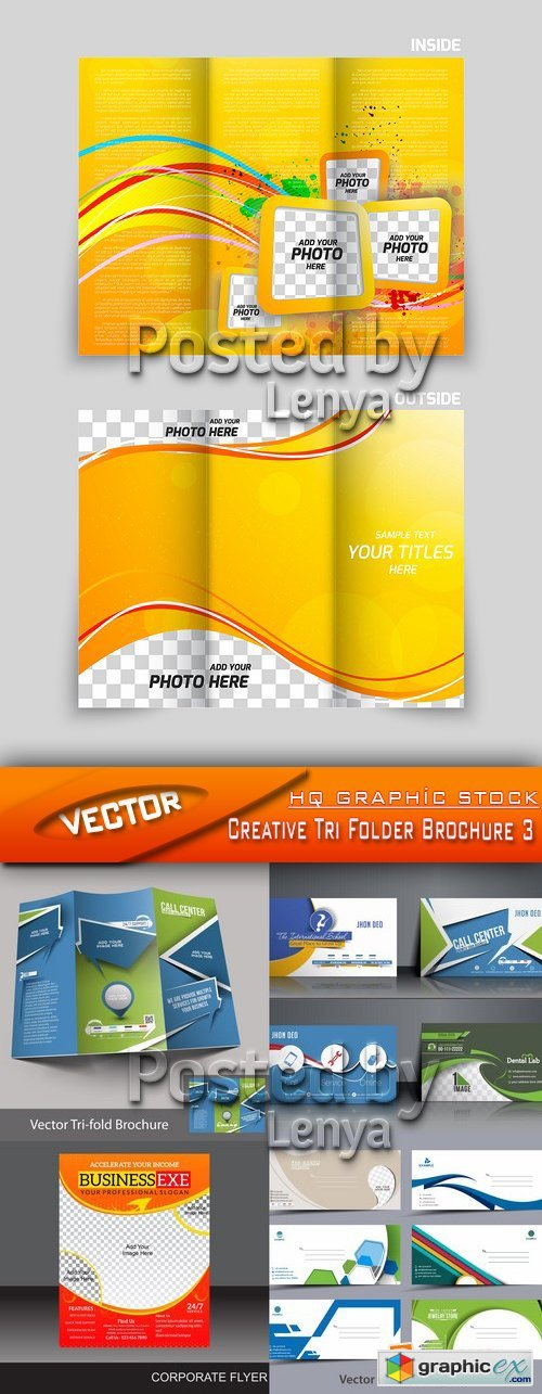 Stock Vector - Creative Tri Folder Brochure 3